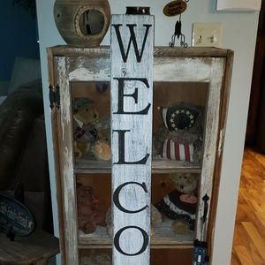 4' Vertical White Farmhouse Rustic WELCOME Sign